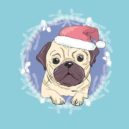 Weihnachtsgrußkarte. Pughund mit rotem Sankt Hut., Bulldogge, fröhlich, Haustier, Gesicht, Tier, Hintergrund, Zucht, Eckzahn, Karikatur, Feiertagsillustrations-Porträtwelpe Rot der Feierklaus entwerfen lustiges Standard-Bild - 90780074