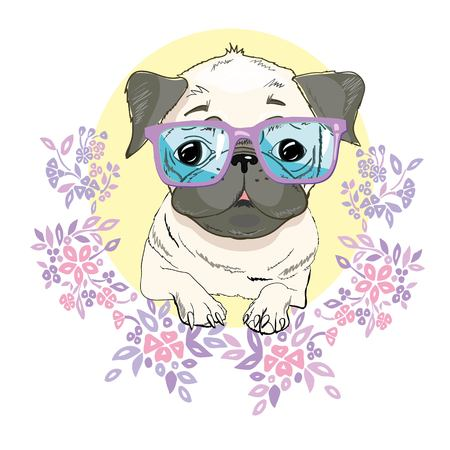 Pug dog face - vector illustration isolated on white background,concept, doggy, domestic, ears, icon, little, looking, outline, paws, puggle, purebred sad sweet tail emblem eye friendly illustrated mascot art