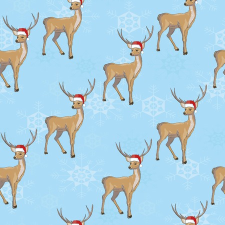 Christmas deer vector seamless pattern illustration. Reindeer vector head with horn and Santa hat Illustration