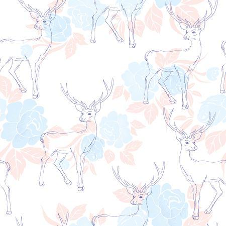 pattern with deer Ilustração