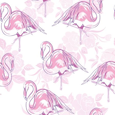 Beautiful seamless vector tropical pattern background with flamingo and hibiscus. Abstract texture, stripes. Perfect for wallpapers, web page backgrounds, surface textures, textile.
