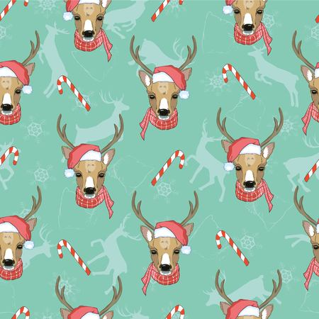 Christmas deer vector seamless pattern illustration. Reindeer vector head with horn and Santa hat Stock Illustratie