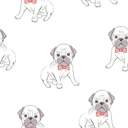 Seamless pattern with cute french bulldog on white background. Vector illustration.