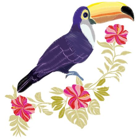 summer animal tropical thread graphic patch drawn palm print sitting art fancywork decor clothes beak fabric hand leaves hibiscus pattern green beauty