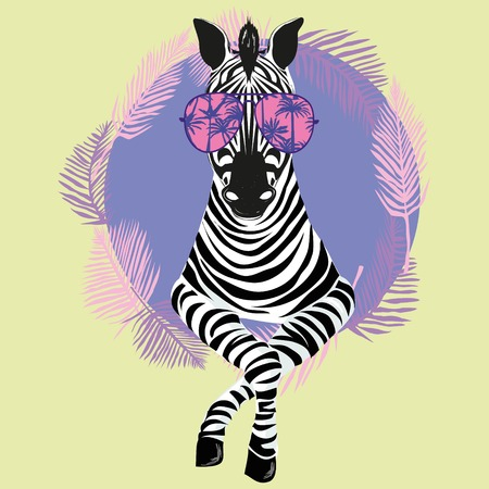 Cool Zebra in Sun Glasses Vector Illustration, animal, card, cartoon, cute, design, fashion, funny, hipster, isolated, poster print anthropomorphic art character cool drawing drawn face
