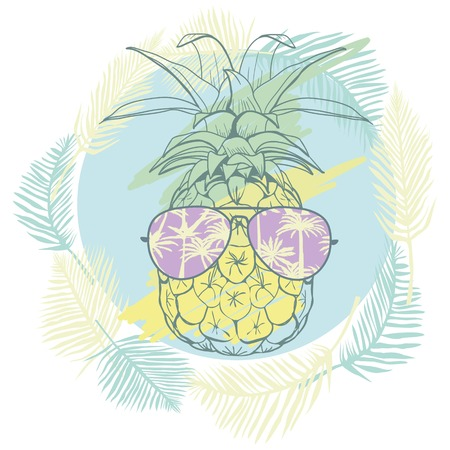 pineapple with glasses tropical, vector, illustration, design, exotic, food, fruit, background, design, exotic, food, fruit, glasses, illustration nature pineapple summer tropical vector drawing fresh healthy isolated plant sweet white dessert hawaii leaf Stok Fotoğraf - 90789377
