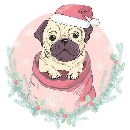 Portrait of cute french bulldog in red christmas hat on blue background. Vector illustration. Santa Claus. New Years and Christmas. isolated, looking, merry, newyear, party, pet, portrait, print, puppy, red, santa, santaclaus, sketch, style, trendy vector white winter xmas hipster Illustration