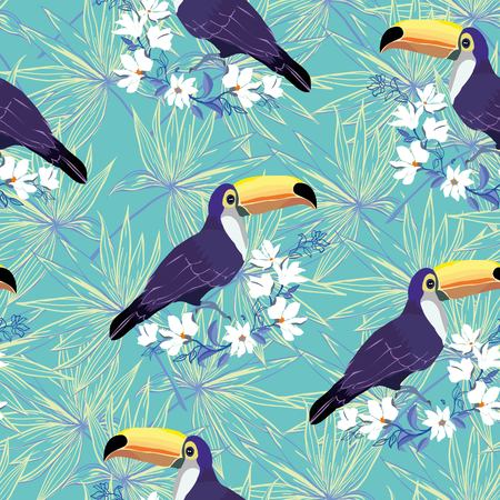 Seamless tropical pattern with Toucan. Vector summer background