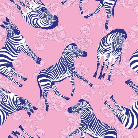 Sketch Seamless pattern with wild animal zebra print, silhouette on white background. Vector illustrations. Wild African animals. Illusztráció
