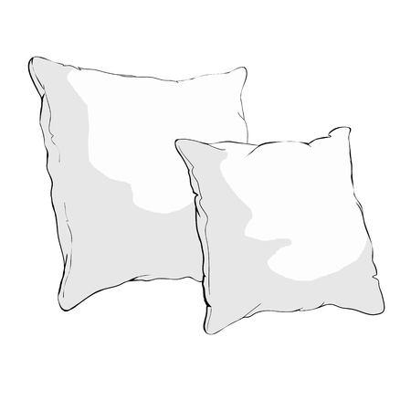 스케치 벡터 일러스트 레이 션의 베개, 예술, 베개 절연, 흰색 베개, 침대 베개