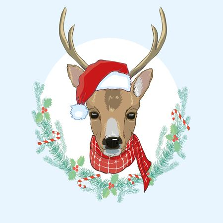 Vector image of an deer and santa hats on blue background.