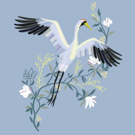 the crane embroidery, vector illustration, bird black design