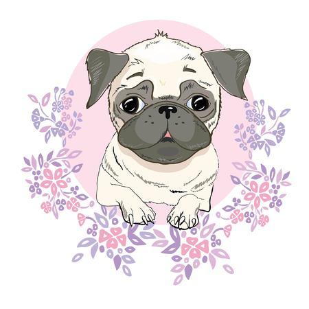 Pug dog face - vector illustration isolated on white background Stock Photo