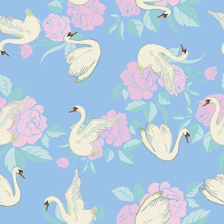 Seamless pattern with white swans. White swans on black background. Vector illustration. Stock Photo