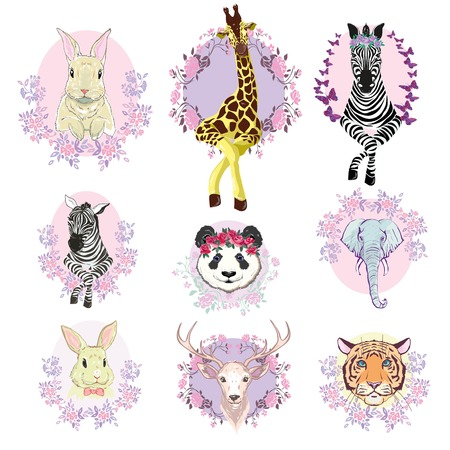 African animals set, vector, illustration, white background, isolated, reindeer, giraffe, Panda, Zebra, tiger Stock Photo