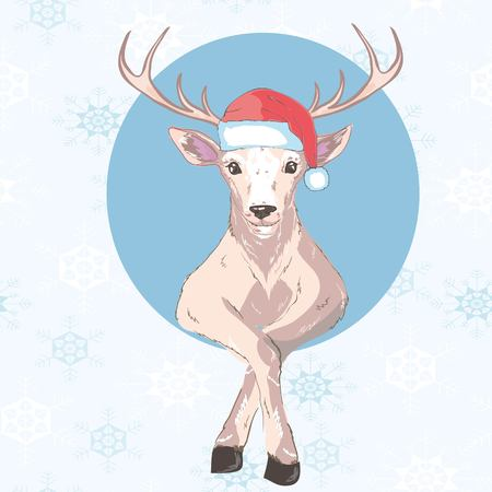 Holiday symbol. Icon colorful cute reindeer in santa hat. Circle on blue background. Snowflakes. Design element for decoration poster, banner, flyer, greeting card. Cartoon style. Vector illustration