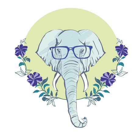vector animal portrait, elephant in pink glasses, pink life, la vie est belle