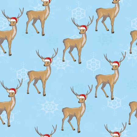 Christmas deer vector seamless pattern illustration. Reindeer vector head with horn and Santa hat Stock Photo