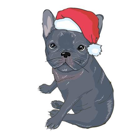 Tarjeta de felicitación de Navidad con un lindo perro.