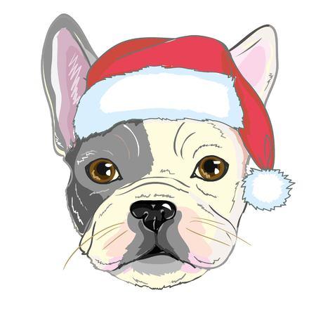 Weihnachtsgrußkarte. Pughund mit rotem Sankt Hut., Bulldogge, fröhlich, Haustier, Gesicht, Tier, Hintergrund, Zucht, Eckzahn, Karikatur, Feiertagsillustrations-Porträtwelpe Rot der Feierklaus entwerfen lustiges Standard-Bild - 91085706