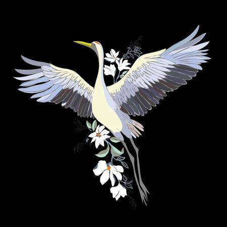 鳥クレーンのベクトル水彩イラスト。白いコウノトリの孤立した物体