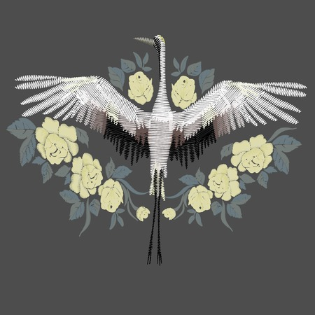 Embroidery. Embroidered design element - bird - crane - in vintage style on a gray background. Stock vector illustration. Ilustrace