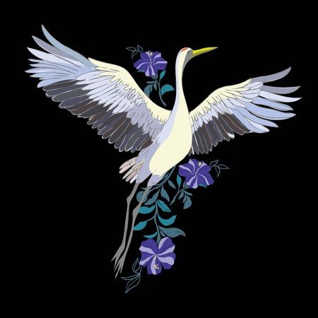 ベクトル イラスト鳥クレーンの水彩セットです。コウノトリ。孤立オブジェクト