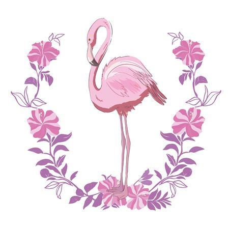 Vector illustration of pink flamingo. Isolated on the white background. Exotic tropical bird. Illustration
