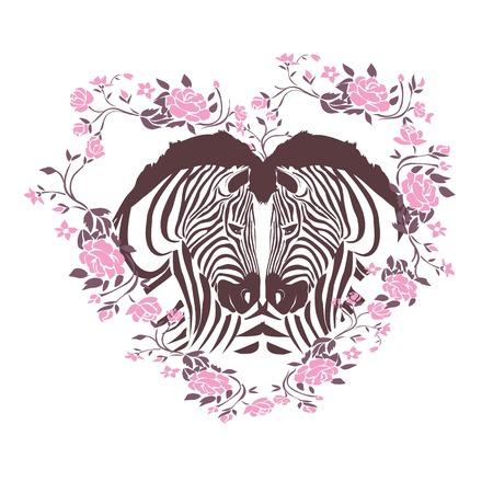 Vector illustration of two zebras in a flower heart.
