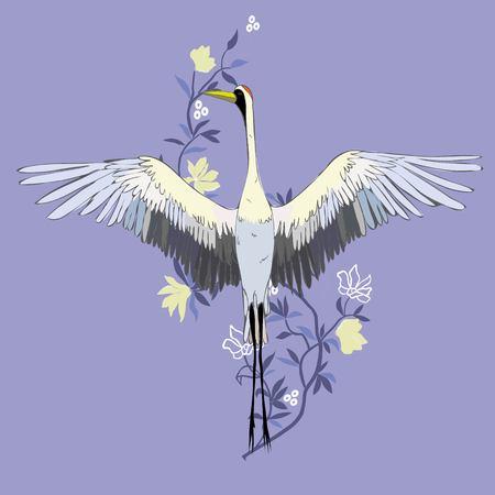 Vecteur de grue d'oiseaux illustrations. Cigogne blanche. Objet isolé Banque d'images - 92236065