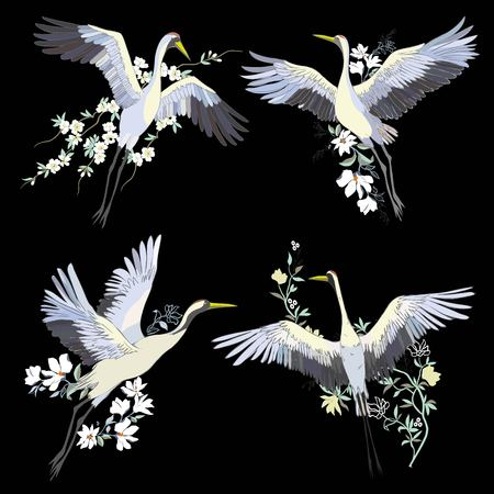 Vector of illustrations bird crane. White stork. Isolated object Çizim