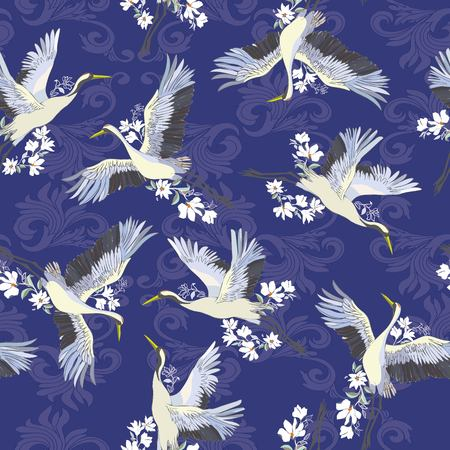 Japanese seamless pattern of birds and water. Traditional vintage fabric print. White and blue indigo background. Kimono design. Monochrome vector illustration. 일러스트