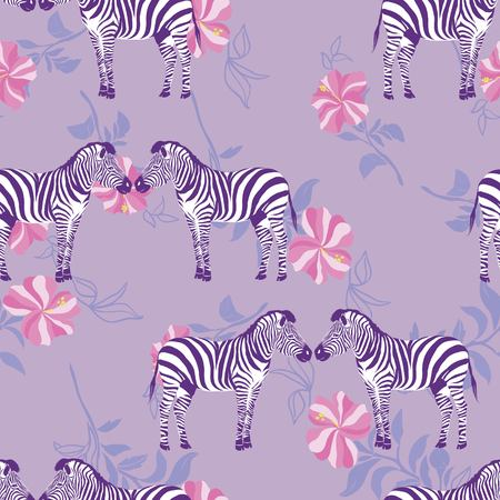 Sketch Seamless pattern with wild animal zebra print, silhouette on purple background. Vector illustrations. Wild African animals.