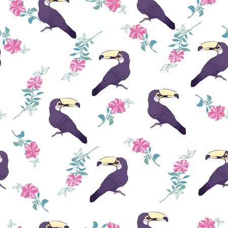 Seamless pattern with hand drawn toucan on white background