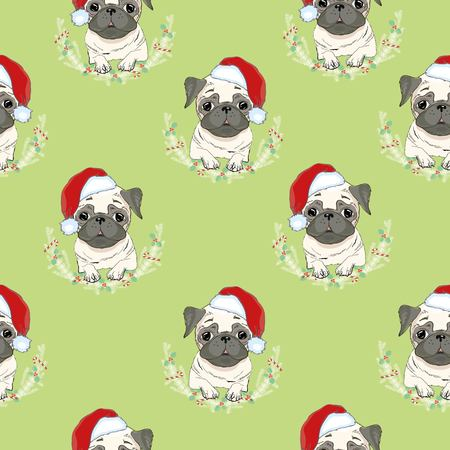 Vector seamless pattern with pug-dog in Santas hat and traces. Dog - animal symbol of New Year .