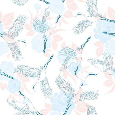 Japanese seamless pattern of birds and water. Traditional vintage fabric print. White and blue indigo background. Kimono design. Monochrome vector illustration. Иллюстрация