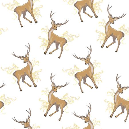 Black and white wrapping paper. Vector seamless geometric pattern with deers.