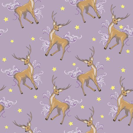 Vector seamless geometric pattern with deers. Illustration