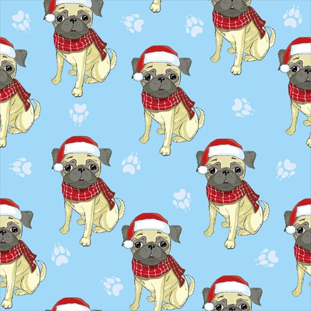Vector seamless pattern with pug-dog in Santas hat and traces. Dog - animal symbol of New Year 2018. Ilustrace