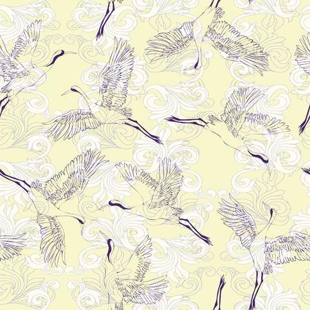 Japanese seamless pattern of birds and water. Traditional vintage fabric print. White and blue indigo background. Kimono design. Monochrome vector illustration. Illustration