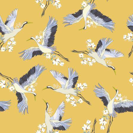 Japanese seamless pattern of birds and flower. Traditional vintage fabric print. Kimono design. Monochrome vector illustration.