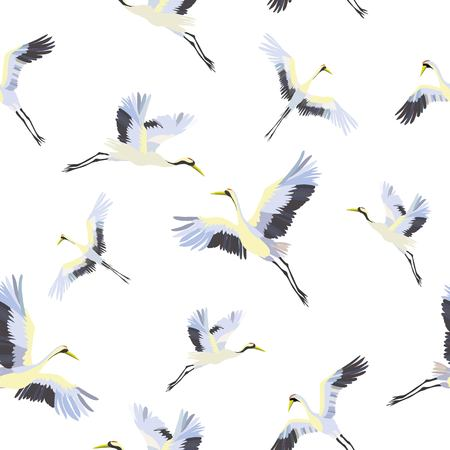 seamless pattern with white cranes