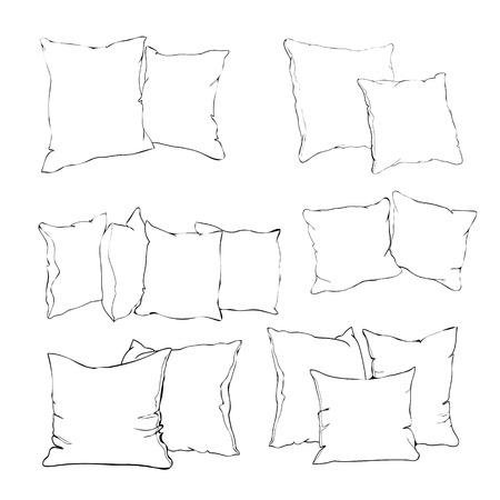 枕のスケッチベクトルイラスト、アート、枕隔離、白い枕、ベッド枕  イラスト・ベクター素材