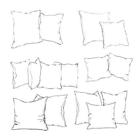 sketch vector illustration of pillow, art, pillow isolated, white pillow, bed pillow Çizim