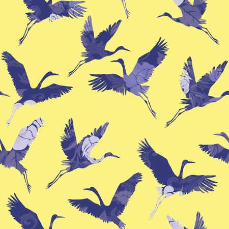 seamless pattern with cranes Ilustrace
