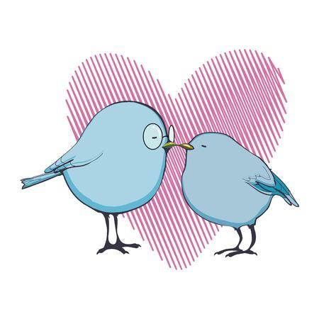 Valentines Day birds Illustration