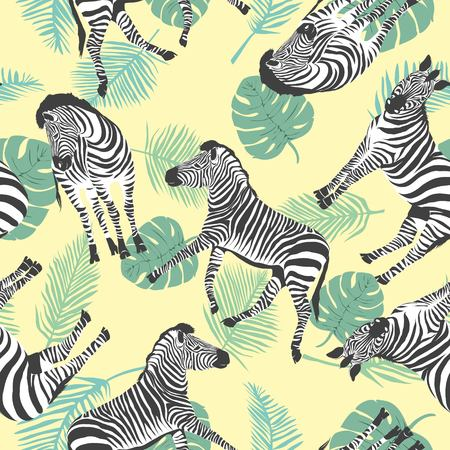 Sketch Seamless pattern with wild animal zebra print, silhouette on yellow background. Vector illustrations. Wild African animals.