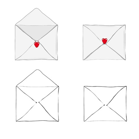 Valentines day illustration. Receiving or sending love emails and sms for valentines day, long distance relationship. Flat design, vector illustration