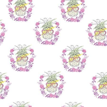 Pineapple seamless pattern. Vector illustration. Иллюстрация