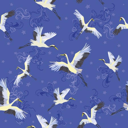 Japanese seamless pattern of birds and water. Traditional vintage fabric print. White and blue indigo background. Kimono design. Monochrome vector illustration. 向量圖像